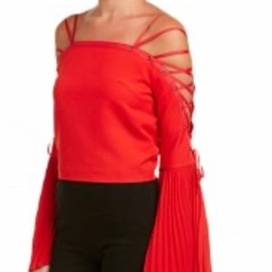 NWT Gracia Women's Red Lace Up Shoulder Crop Top